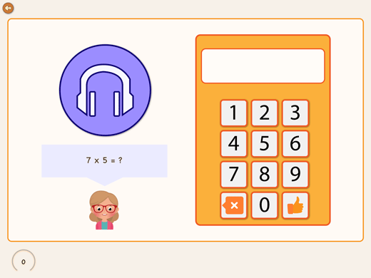 In the mulitplication times table app you find also a listen exercise.