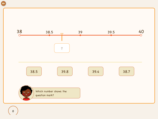 This exercise is about to set decimals on number line.