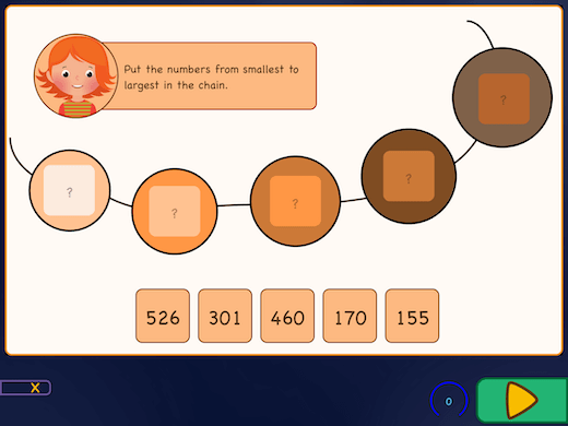Exercise to place big numbers from low to high.