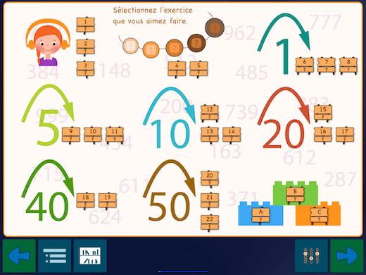 L'installation est faite de telle manière que vous apprenez à compter de 100 à 1000 en 22 étapes.