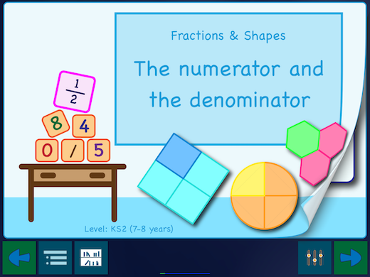 "This app has three sets worksheets. The first is called ""The numerator and the denominator""."