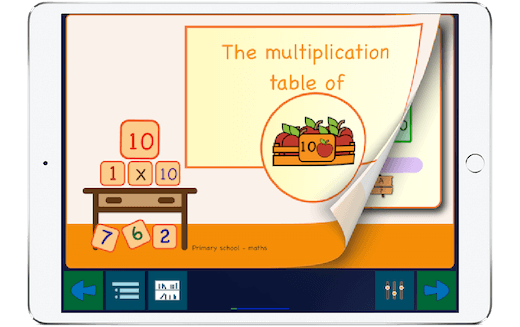 iPad example running the app 'The ten times tables'.