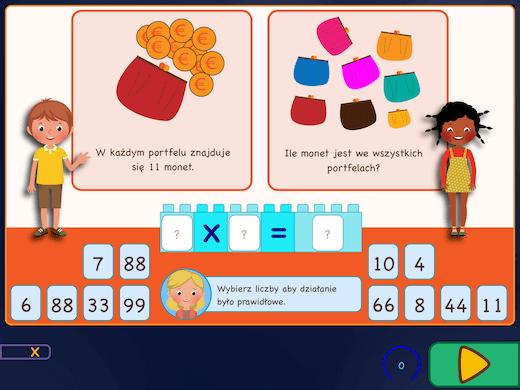 Nauka tabliczki mnożenia poprzez rozwiązywanie zagadek. Zdecyduj jak będzie wyglądało działanie.